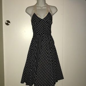 Black and white polka dot halter dress