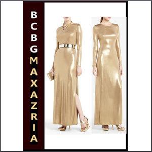BCBGMAXAZRIA NEW Metallic Gold Bodycon Maxi Dress