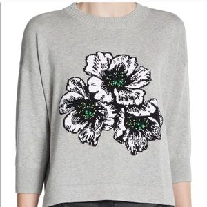 French Connection Sweaters - French Connection Eddie Pop Floral Beaded Sweater