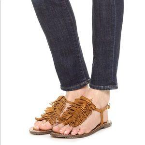 Saddle Kid Suede Leather T Strap Fringe Sandals