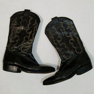 Vintage Black Snakeskin Wingtip Cowboy Boots 5.5