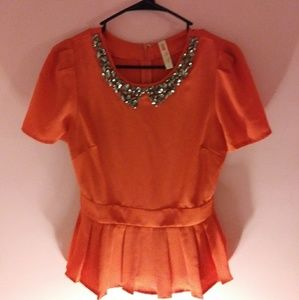 Moon Collection Bright Orangey Jeweled Top