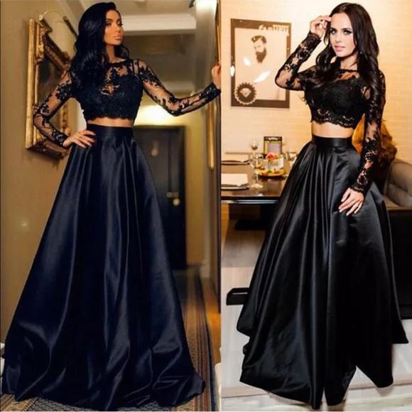 d6836d54204d8 Dresses   Skirts - 🌟5 🌟Black Lace Crop Top + High Waist Maxi Skirt