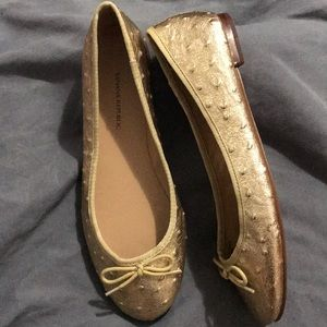 Banana Republic Ostrich Leather Ballet Flats 6 1/2