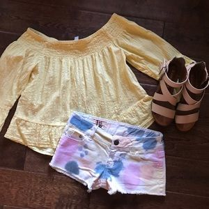  Bleached Tye Dye Hippie Chic Painted Shorts 