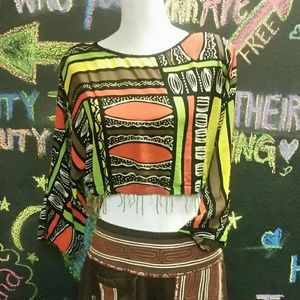Cropped boho hippie fringed top