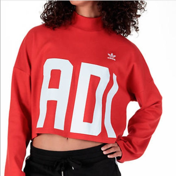 e0b0b3d4 Red Adidas Cropped Sweatshirt NWT