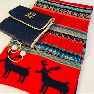 Accessories - Red + Navy Nordic Fair Isle Cozy Scarf