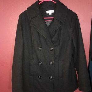 Warm thick black peacoat!Perfect winter must have!