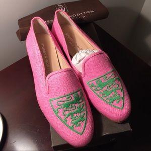 FINAL PR NWT Stubbs&Wootton pink linen loafers 6.5