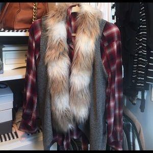 Evereve Fur collar vest