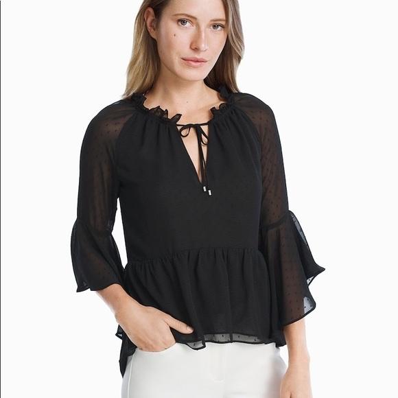 b71841ea5719a White House Black Market Ruffle Sleeve Top Size 12