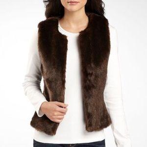 NWOT Worthington brown faux fur vest