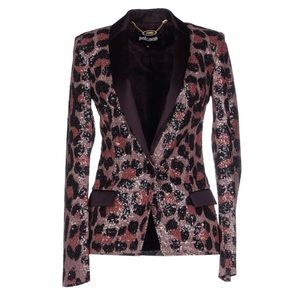 Just Cavalli Leopard Deep Purple Sequin Blazer