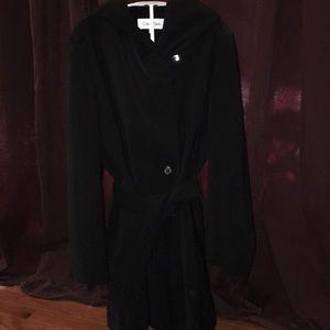 Beautiful Large Long Calvin Klein Black Coat