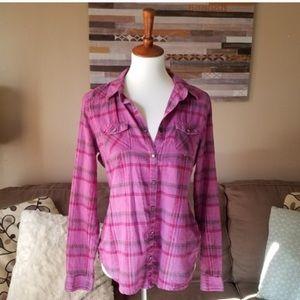 Mossimo Purple Plaid Button Down Shirt