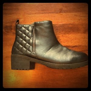 Black quilted faux leather ankle booties