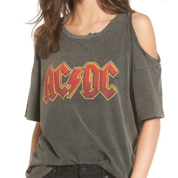 06e54971 Topshop Tops | Acdc Cold Shoulder Graphic Tee W Chains | Poshmark
