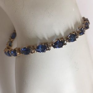Jewelry - 10K Yellow Gold Blue Sapphire Tennis Bracelet