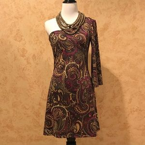 Paisley One shoulder dress