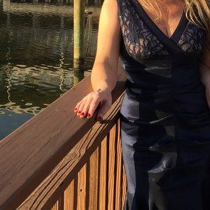 Blue sapphire taffeta gown worn once