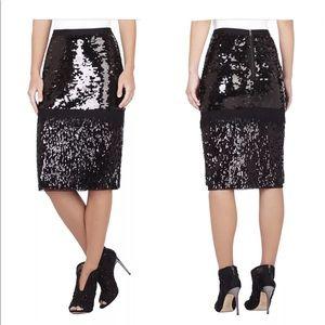 BCBG Maxazia S Sequined Beaded Holidays  Skirt
