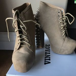 Vintage high heel spike boots