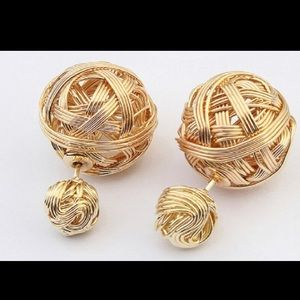 Jewelry - Preloved gold - plated earrings. Double sided.