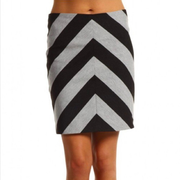 07adc51e9 Trina Turk Skirts | Black Gray Chevron Knit Skirt 10 | Poshmark