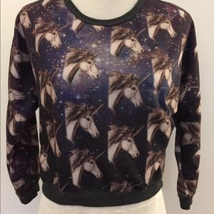 Forever 21 unicorn cropped sweatshirt
