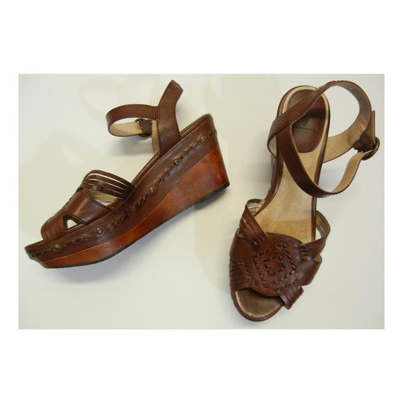 b542509989e Frye Shoes - FRYE Carlie Huarache Ankle Wedge Sandals Leather