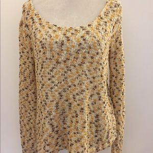 Mink pink yellow brown open Knit scoop sweater