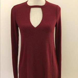 Project social T red choker collar v neck top