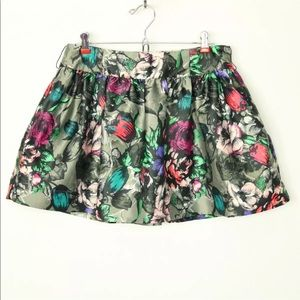 Candies Skirt Mini 5 Satin Grey Red Purple Floral