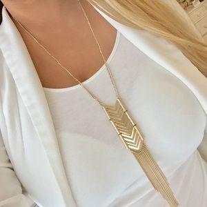 Express gold ladder fringe necklace