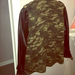 Jackets & Blazers - Camo and Faux Leather Jacket