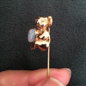 Jewelry - Vintage Koala bear opal stick pin