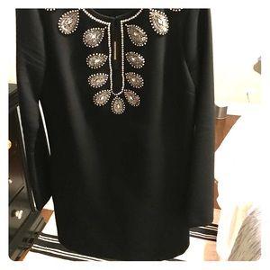 Rachel Zoe keyhole black dress with embellishments