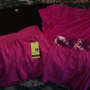 Pair of Quick dry workout exercise shirt sets  2x