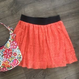 Coral lace overlay elastic waistband skirt
