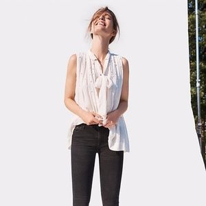 Anthropologie Pearled Tie-Neck Swing Blouse Sz M