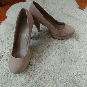 Tan faux suede platform heels with rubber soles