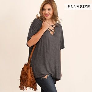 Tops - PLUS--Shila Washed Ash with Crossed Front Top