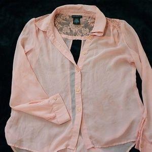 Open back sheer blouse