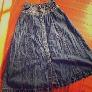 Vintage beaded denim skirt