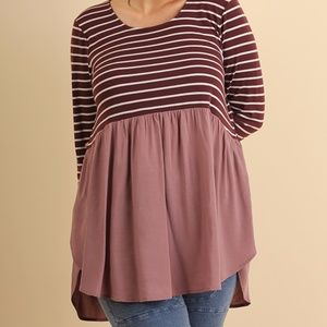 Tops - Plus--Mulberry & Mauve Striped Long Sleeve Top