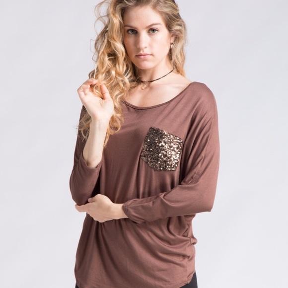 6680ae0ef36 Fashionomics Tops   Jersey Pocket Tee With Sequins   Poshmark
