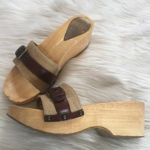Dolce & Gabbana Wood Base Slide Sandal
