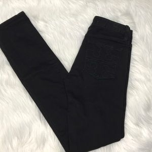 Tory Burch Black Super Skinny Jeans Size 25 33 ins