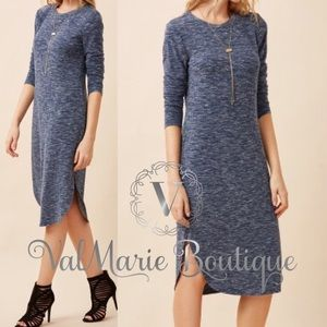 Navy Marled Ribbed Sweater Dress